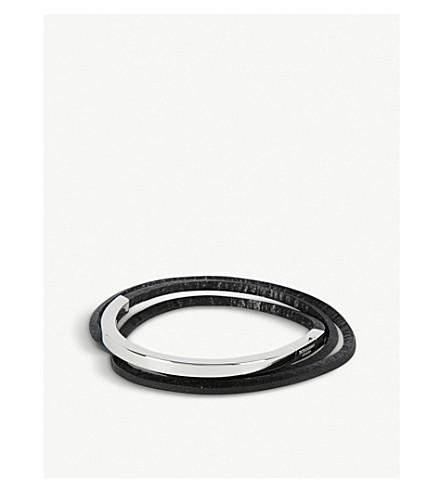 TATEOSSIAN纯银和皮革包手镯 (黑色
