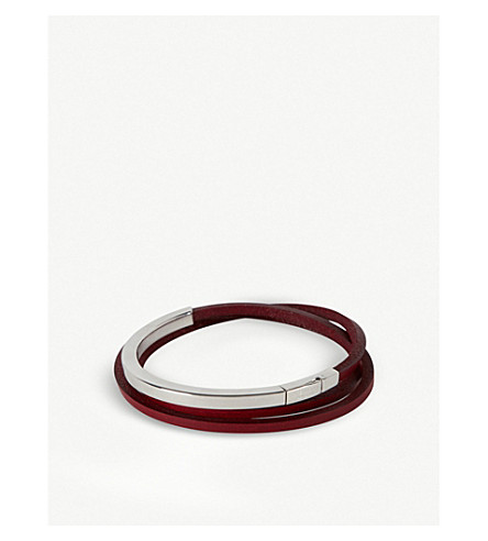 TATEOSSIAN纯银和皮革包装手镯 (红色