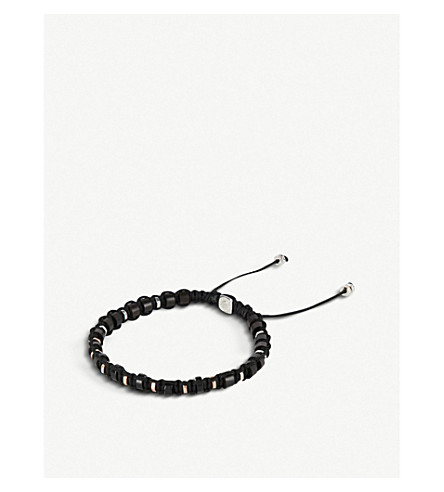 TATEOSSIAN竹, 纯银和玫瑰金 macramé手镯 (黑色