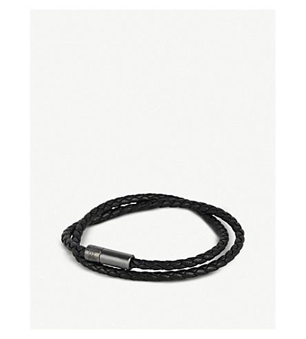 TATEOSSIANRigato 皮革和纯银手镯 (黑色