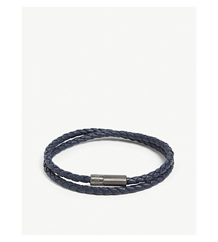 TATEOSSIAN Rigato leather and sterling silver bracelet (Navy