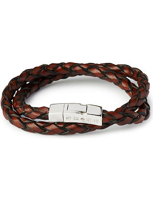 TATEOSSIAN Double-wrap scoubidou leather bracelet with silver clasp