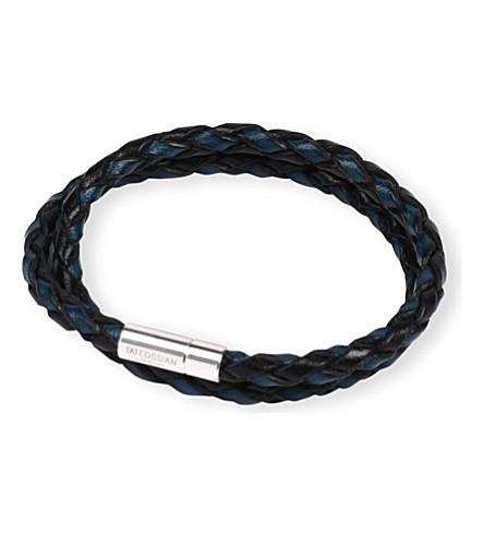 TATEOSSIAN Silver pop scoubidou leather bracelet (Blue/black