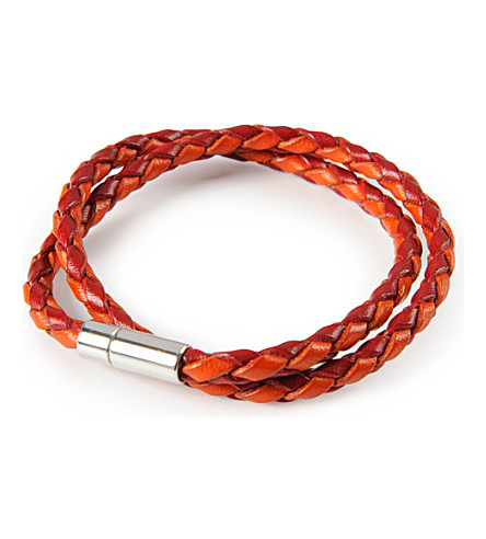 TATEOSSIAN Silver pop scoubidou leather bracelet (Red/orange