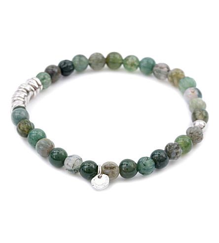 TATEOSSIAN Silver disc beaded bracelet (Moss+agate