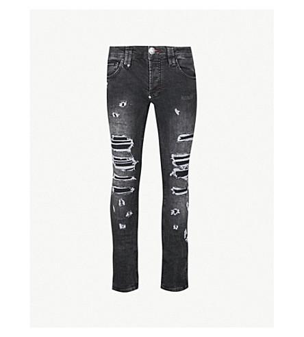 PHILIPP PLEIN Distressed slim-fit straight jeans (Black
