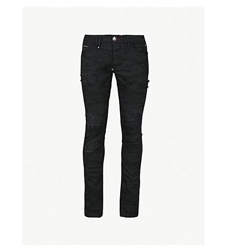 PHILIPP PLEIN Distressed regular-fit straight jeans (Black