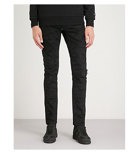 PHILIPP PLEIN Distressed regular-fit straight jeans (Black