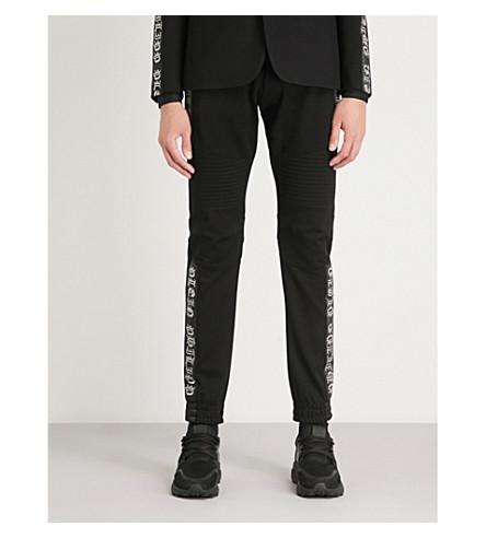 PHILIPP PLEIN 珠子点缀的侧条纹平纹针织面料慢跑裤 (黑色