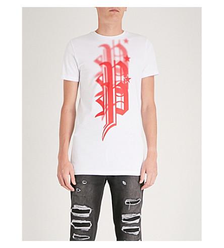 PHILIPP PLEIN 徽标打印平纹针织棉 T 恤 (白色 + 红色