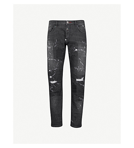 PHILIPP PLEIN Gothic Simple distressed regular-fit straight jeans (Grey