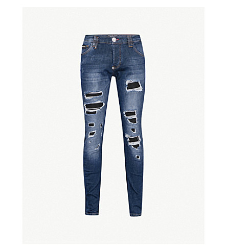 PHILIPP PLEIN Distressed regular-fit straight jeans (Blue