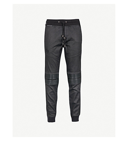 PHILIPP PLEIN Brave panelled relaxed-fit denim jogging bottoms (Blk