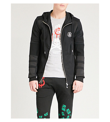 PHILIPP PLEIN Logo-detail cotton-jersey and neoprene hoody (Blk