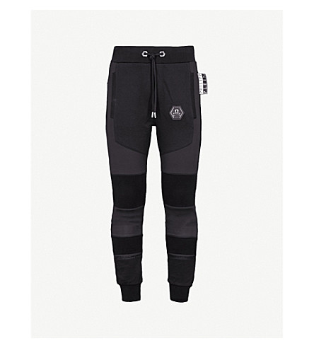 PHILIPP PLEIN Contrasting panels jersey jogging bottoms (Blk