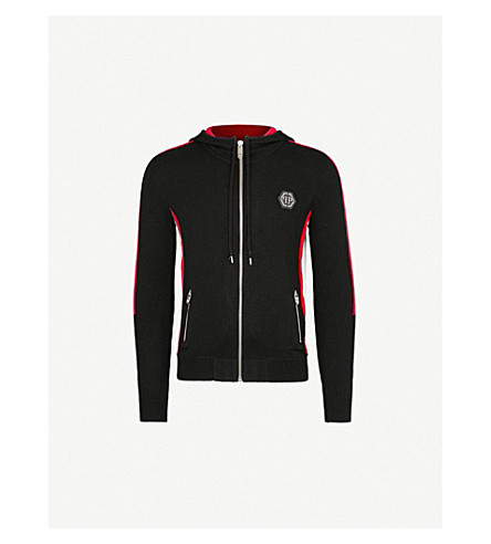 PHILIPP PLEIN Striped-detail cashmere hoody (Blk