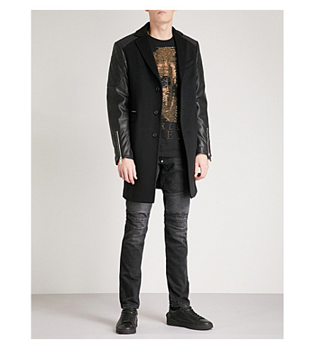 PHILIPP PLEIN Faux-leather sleeve wool and cashmere-blend coat (Blk