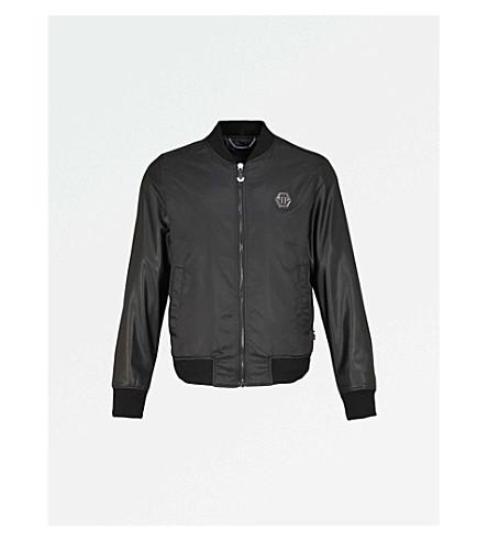 PHILIPP PLEIN Skull-appliqué shell bomber jacket (Blk
