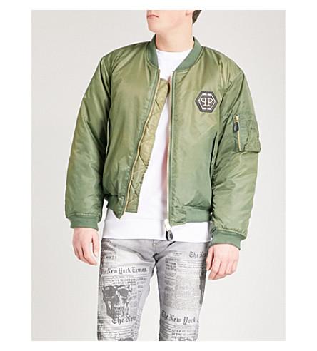 PHILIPP PLEIN Skull-print shell bomber jacket (Military