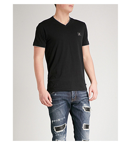 PHILIPP PLEIN Logo-patch cotton-jersey T-shirt (Blk