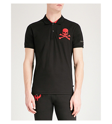 PHILIPP PLEIN Skull and crossbones-print cotton-piqué polo shirt (Blk+red
