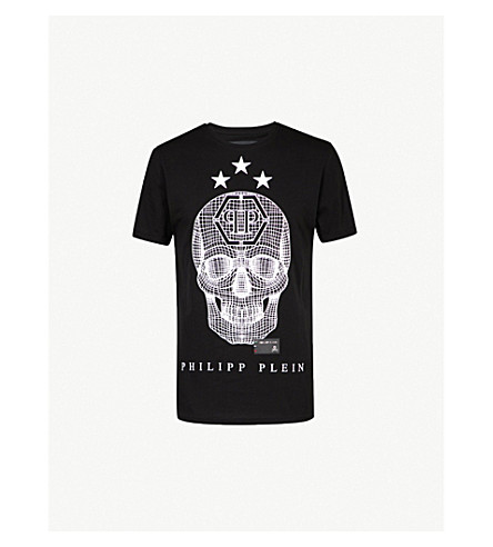 PHILIPP PLEIN Say Something cotton-jersey T-shirt (Blk+wht