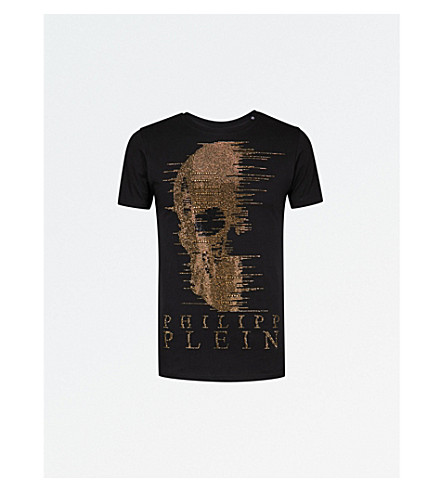 PHILIPP PLEIN Ghost-S cotton-jersey T-shirt (Blk+gold
