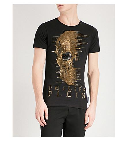 PHILIPP PLEIN Ghost-S cotton-jersey T-shirt (Blk+gold