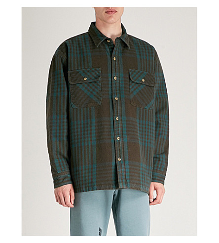 YEEZY Season 5 padded cotton-flannel shirt (Blue