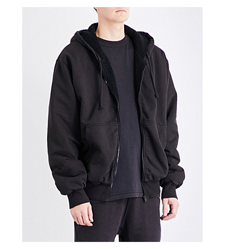 YEEZY Season 5 Sherpa-lined cotton-jersey hoody (Ink+black