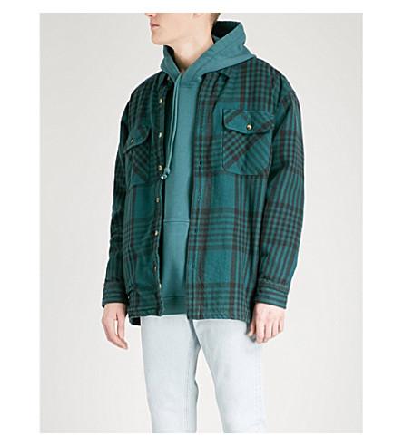 YEEZY Season 5 fleece-lined cotton-flannel shirt (Teal