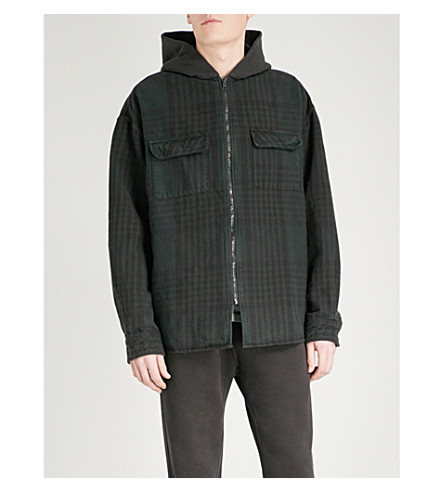 YEEZY Season 5 hooded checked cotton-flannel jacket (Grace