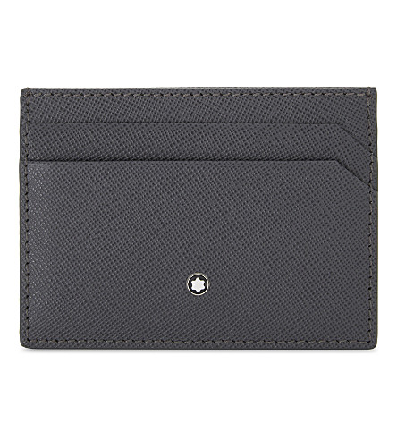 MONTBLANC Grained leather card holder (Dark+grey
