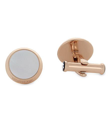 MONTBLANC Pearl inlay Meisterstück cufflinks (Gold+white