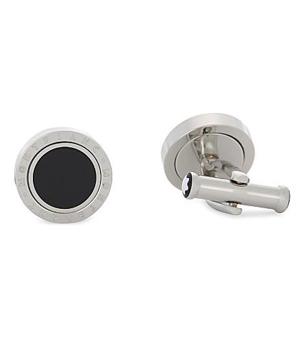 MONTBLANC Rotating ring Meisterstück cufflinks (Silver+black