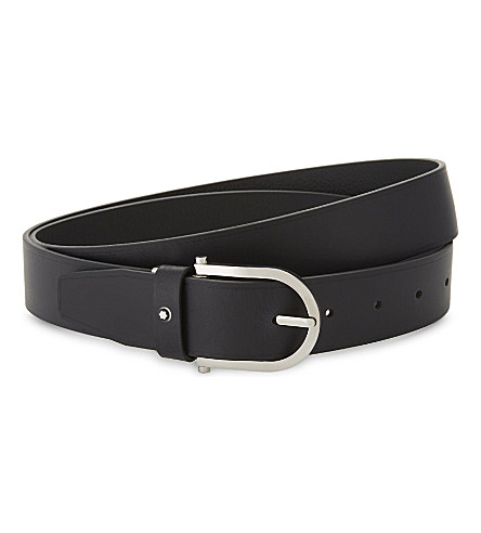 MONTBLANC Horseshoe-buckle leather belt (Brown