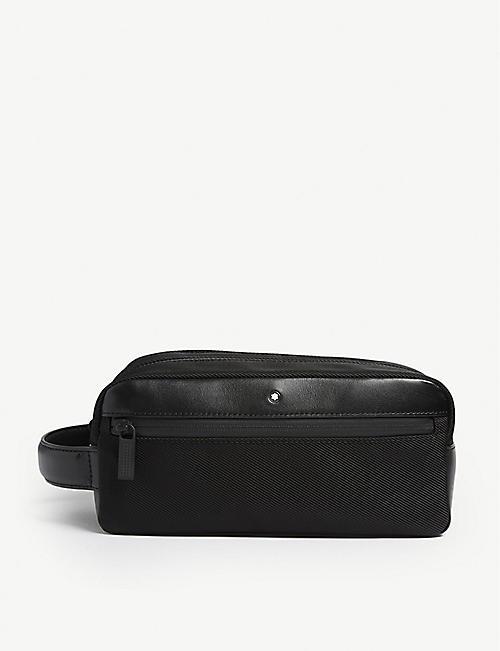 MONTBLANC Nightflight leather and nylon wash bag