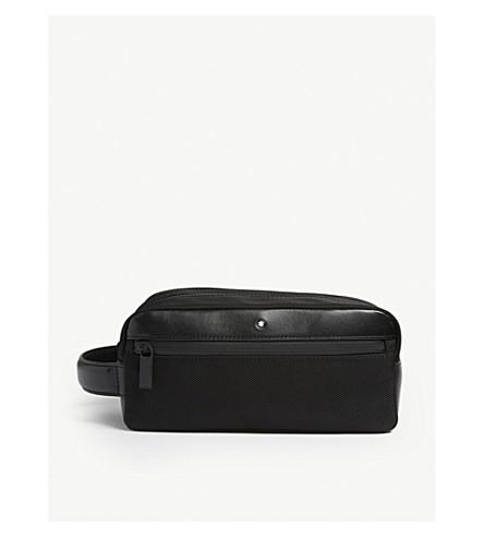 MONTBLANC Nightflight leather and nylon wash bag (Black
