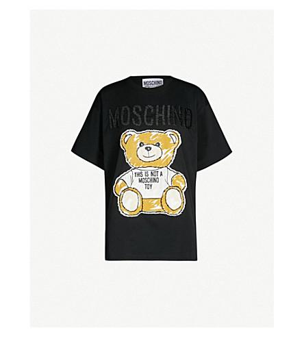 MOSCHINO Teddy logo-print cotton-jersey T-shirt (Fantasy print black