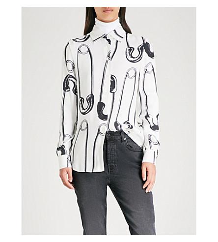 MOSCHINO Safety pin-print crepe shirt (White