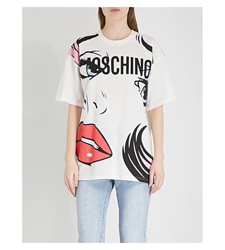 MOSCHINO Pop art-print cotton-jersey T-shirt (Pink+multicolour