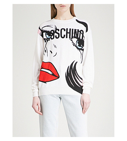 MOSCHINO Pop art-print wool jumper (Pink+multicolour