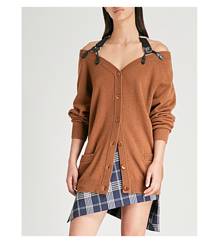 MOSCHINO Harness-embellished wool and cashmere-blend cardigan (Tan
