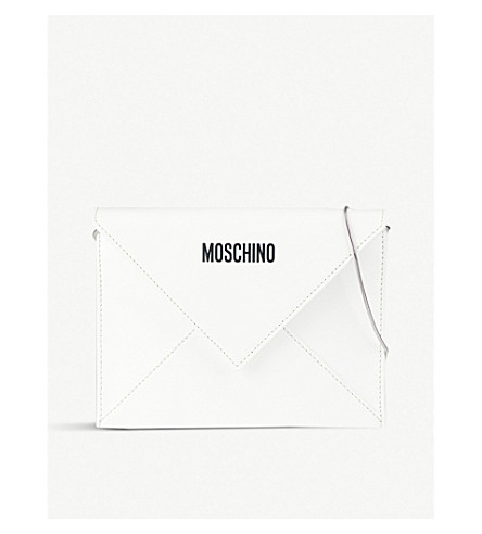MOSCHINO I Love You! leather envelope clutch (White