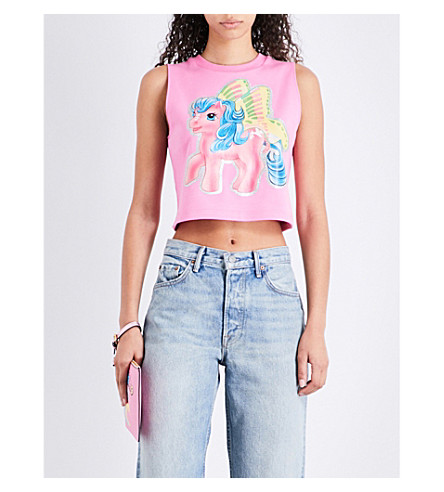 MOSCHINO My Little Pony-print stretch-cotton cropped top (Pink