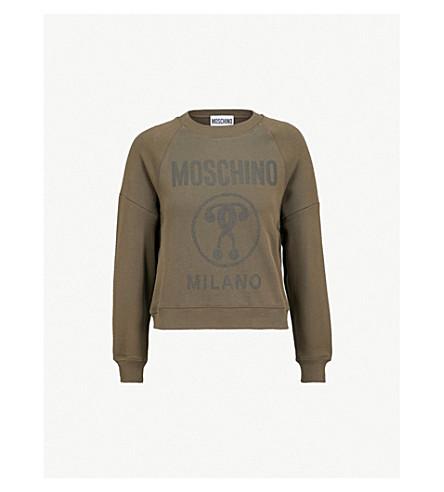 MOSCHINO Logo-print cotton-jersey sweatshirt (Olive