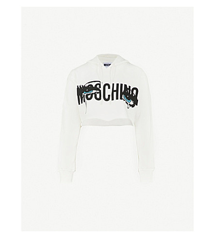 MOSCHINO Pop art-print cotton-jersey cropped hoody (White
