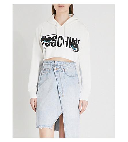 MOSCHINO Pop art-print cotton-jersey cropped hoody (White
