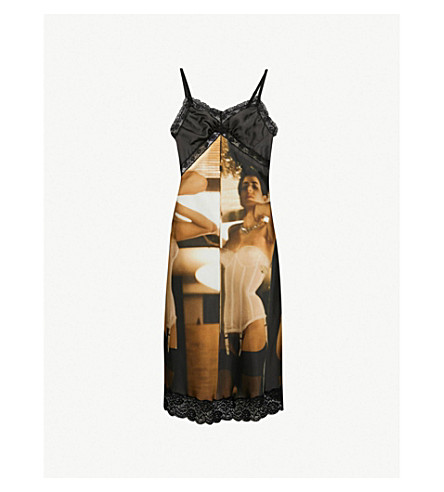 MOSCHINO Photography-print satin camisole dress (Black