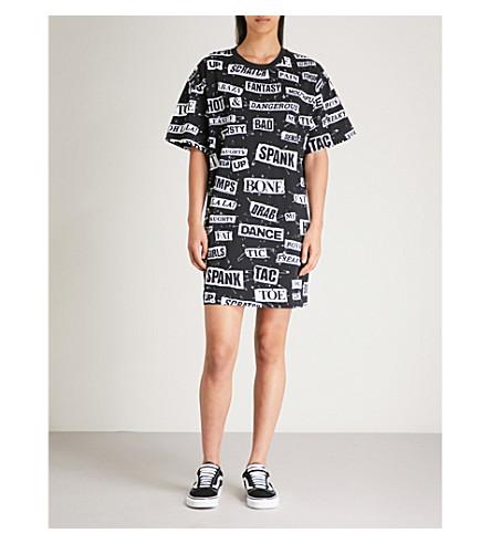 MOSCHINO Slogan-print cotton-jersey dress (Black